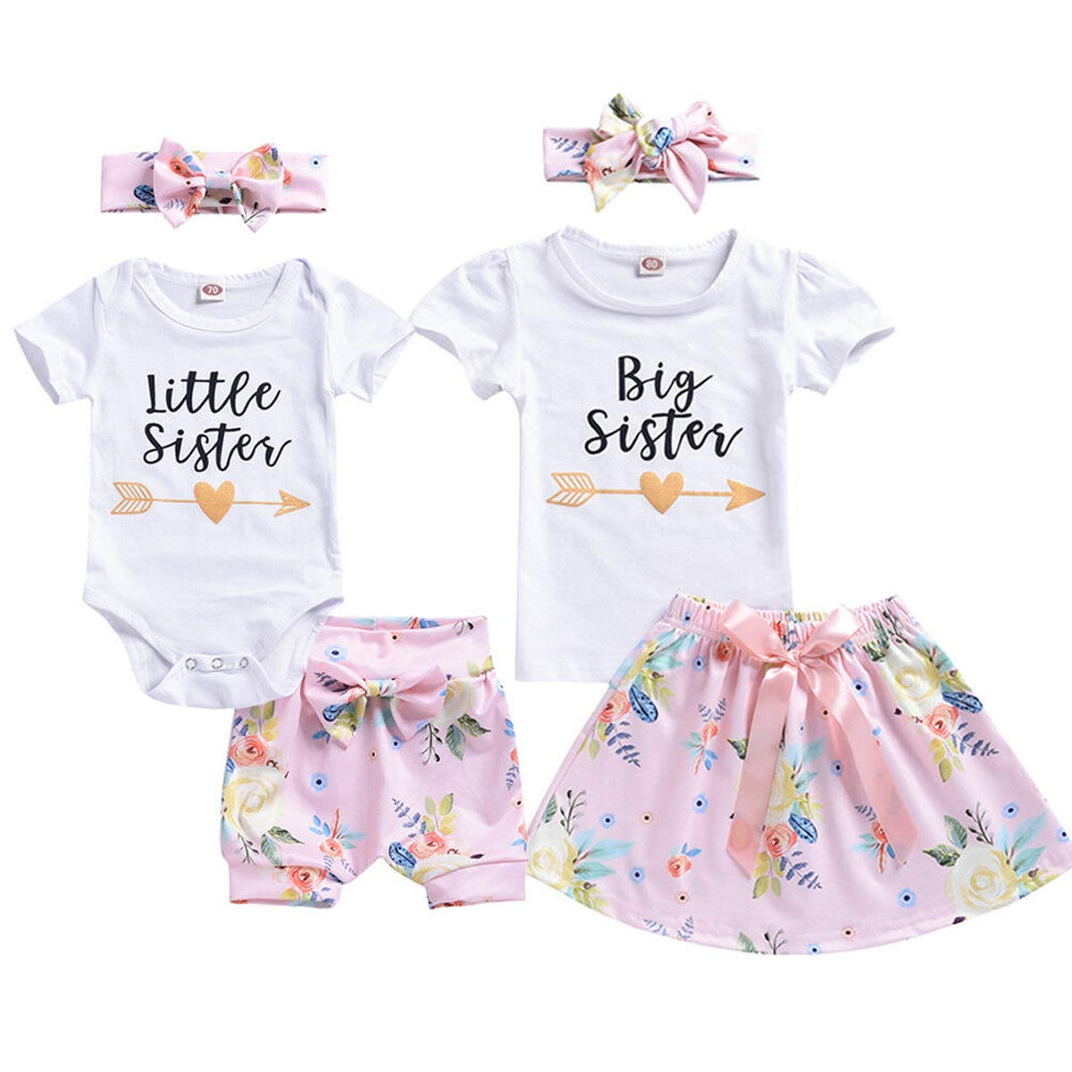 TheFound Infant Baby Girl Short Sleeve Little Siste Outfits Romper+ Floral Dress Bowknot Short Pants 3Pcs Shorts Outfits