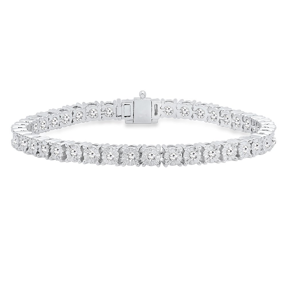 1.40 Carat (ctw) 14K Gold Round Cut White Diamond Ladies Tennis Bracelet