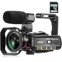 Video Camera, Zohulu 4K Camcorder WiFi Ultra HD Vlogging Camera for YouTube, 3.1'' IPS Screen 30X Digital Zoom Night Vision Video Camera with Microphone, Wide Lens, 32GB Card, 2 Batteries