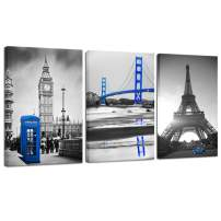 LevvArts - Black and White Blue Wall Art San Francisco Golden Gate Bridge Paris Eiffel Tower London Big Ben Booth Pictures for Living Room Modern Cityscape Canvas Art Ready to Hang