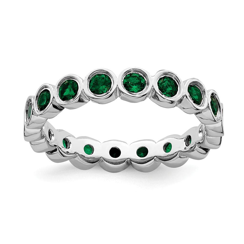 925 Sterling Silver Created Green Emerald Band Ring Stone Stackable Gemstone Birthstone May Fine Jewelry For Women Gift Set