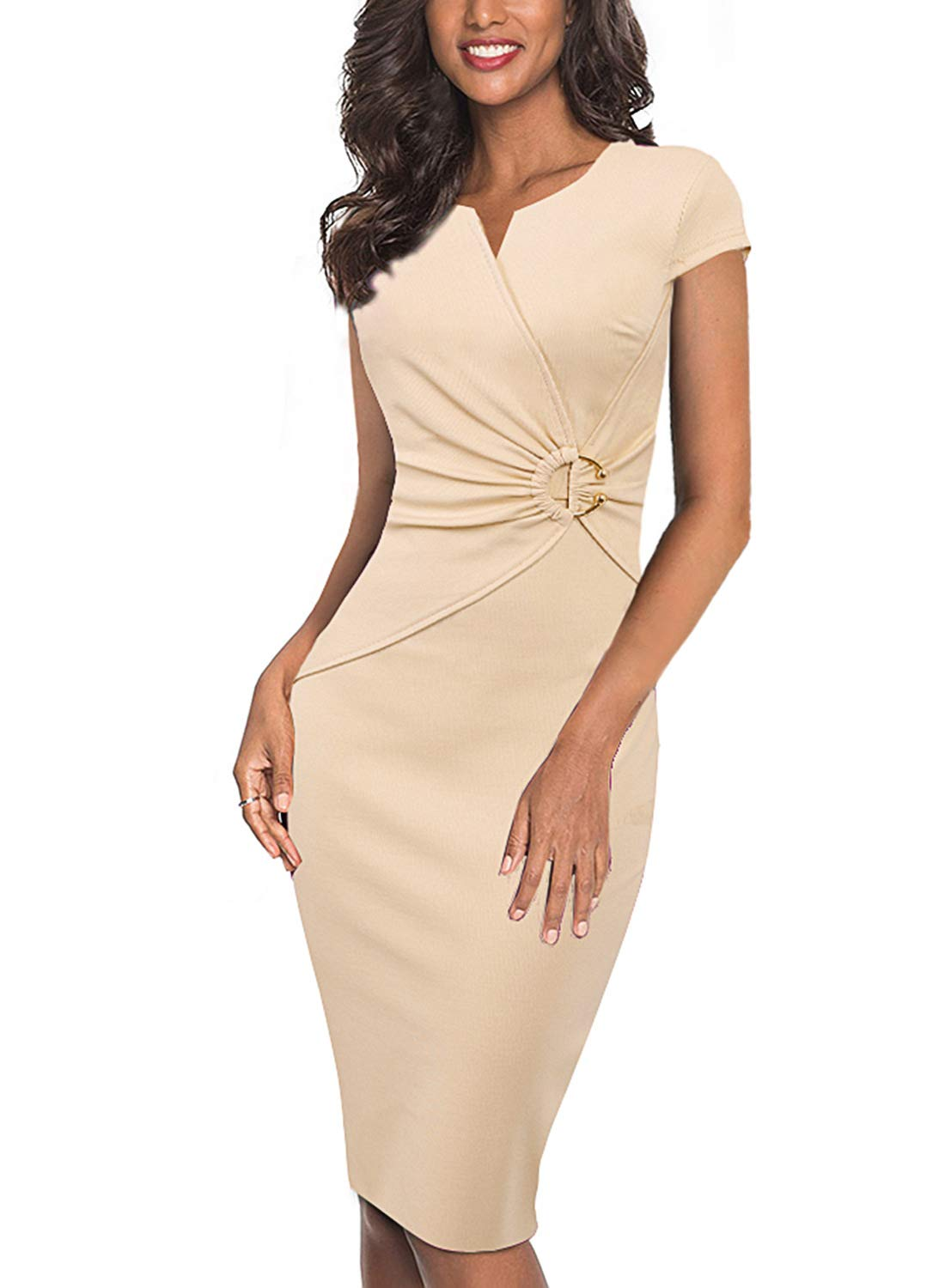 VFSHOW Womens Elegant V Neck Ruched Work Office Business Bodycon Sheath Dress