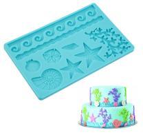 ELINKA Silicone Seashell Sea Life Fondant and Gum Paste Candy Cake Baking Mold For Cake Decorating Sealife Style Starfish Molds