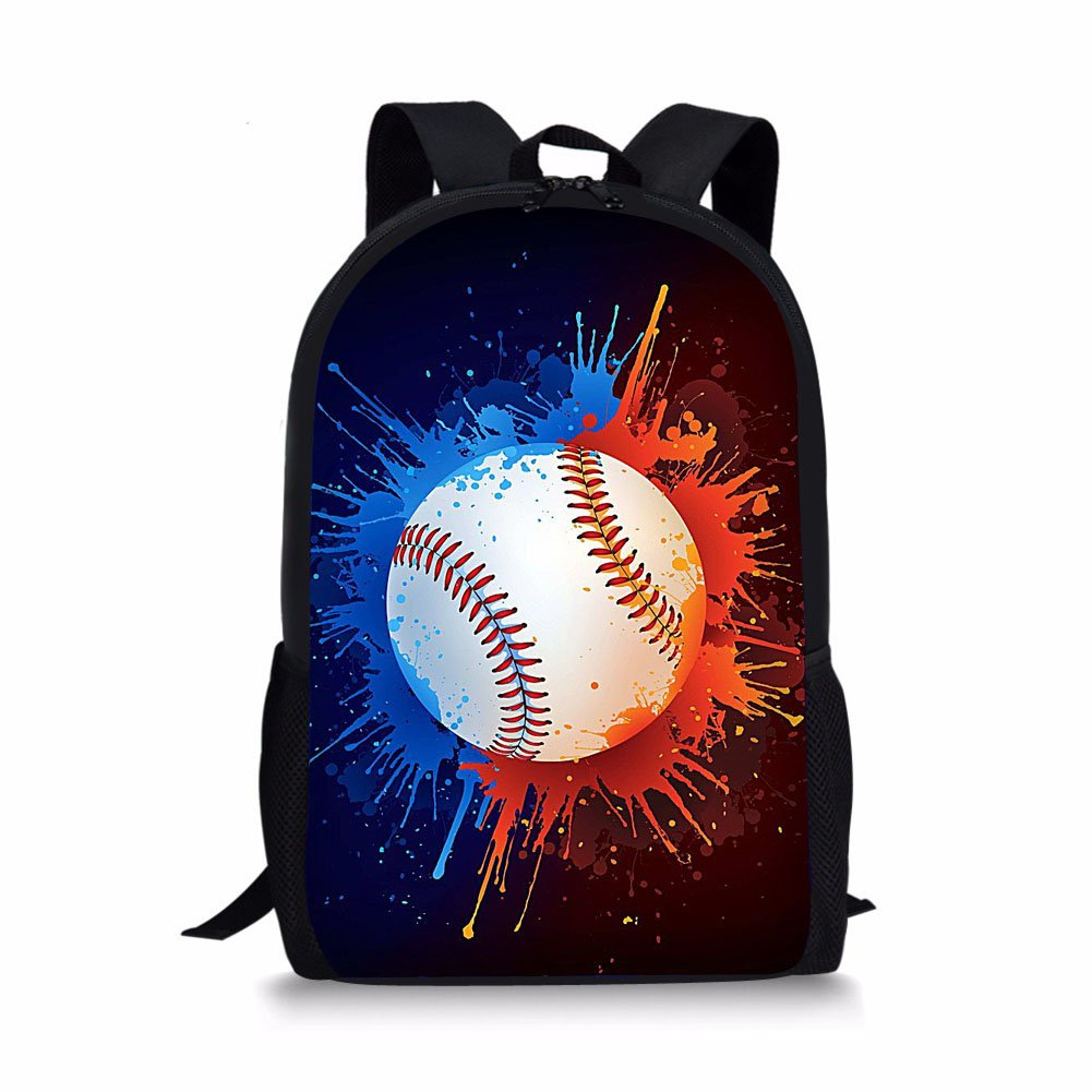 FOR U DESIGNS Baseball Painting Child School Book Bag with Water Pocket