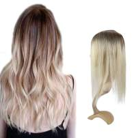 """Full Shine Fashion Toppers For White Women Real Brazilian Hair 8 Inch For Loss Toupee With 6.5X2.25"""" Base Size Ombre Color 3 Highlight With 8 Fading To 613 White Blonde"""