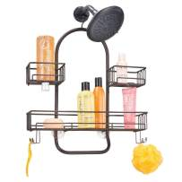 mDesign Extra Wide Metal Wire Tub & Shower Caddy, Hanging Storage Organizer Center with Built-in Hooks and Baskets on 2 Levels for Shampoo, Body Wash, Loofahs - Rust Resistant, Bronze