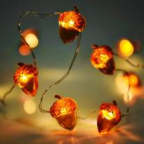 Lauva Christmas String Lights Acorn Decorative Festive Lights Battery Operated 10 ft 40 LEDs with Remote Timer for Indoor Outdoor DIY Home Party Decoration Holiday Wedding Thanksgiving Harvest-Brown