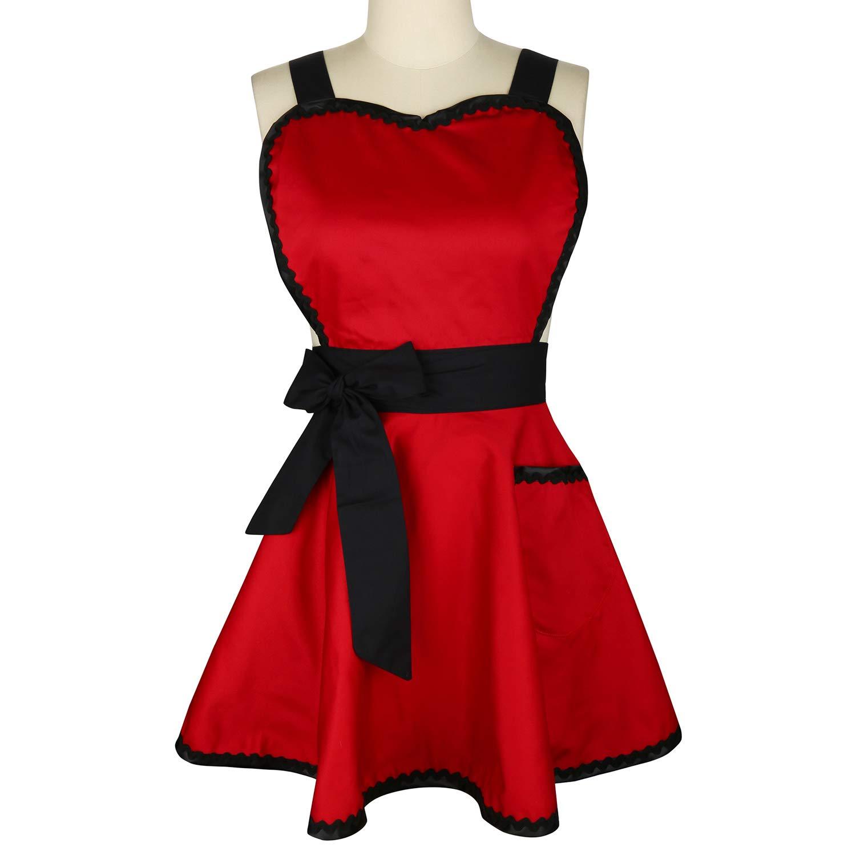 Violet Mist Women Apron Cute Retro Cotton Cooking Polka Dot 50's Style Vintage Apron Dress Gift, Red 1