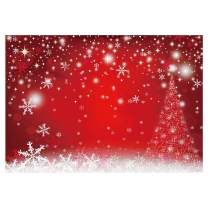 Funnytree 7x5FT Durable Fabric Red Magic Christmas Photography Backdrop Winter Party Decoration Bokeh White Snowflake Background Photo Booth