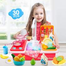 Play Kitchen Sink Toys,Dishes Washing Toys for Kids 30pcs,Children Electric Dishwasher Playing Toy with Running Water,Play Cooking Stove,Pretend Play Kitchen Toys for Boys Girls Toddlers (Pink)