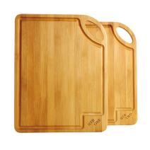 2pcs Bamboo Cutting Board Set, 14x11in Meat Cutting Board with Juice Groove, One Handed Thin Chopping Board With Handle Engraved ONE TWO By HTB