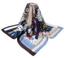 """corciova 35"""" 12 Momme Crepe Satin Plain Real Mulberry Silk Square Women Scarf Caft Noir Baby Blue Eyes Cat Dog Patterns"""