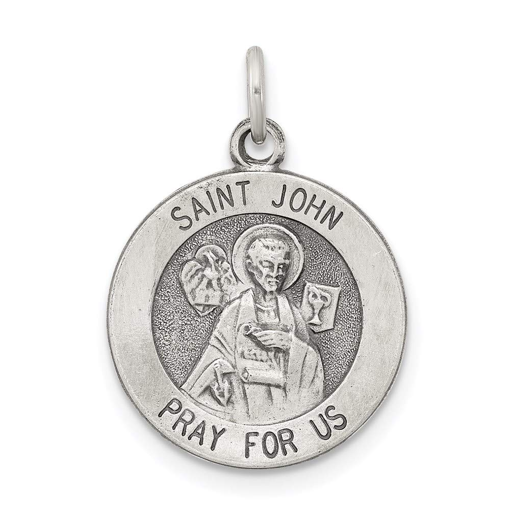925 Sterling Silver Saint John Medal Pendant Charm Necklace Religious Patron St Fine Mothers Day Jewelry For Women Gifts For Her
