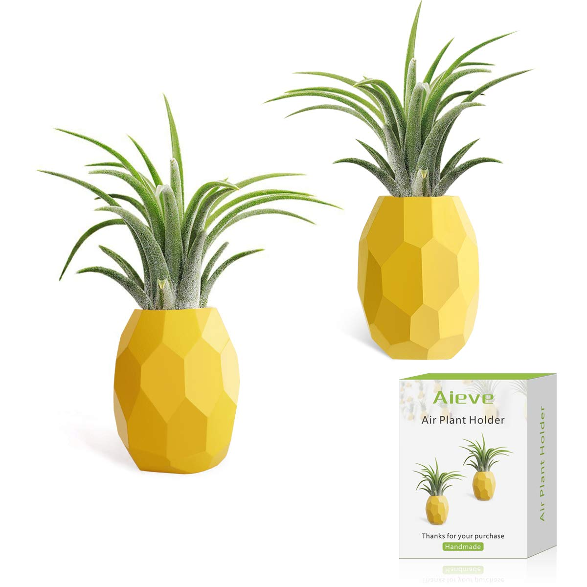 AIEVE Air Plant Holder, 2 Pack Air Plant Pineapple Planter Tillandsia Holder Hanger Geometric Air Plant Holder Stand Display with Magnet for Hanging Air Plants Indoor Wall Home Decor