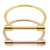 ALoveSoul 2 Pcs Screw Bracelet Stainless Steel Bar Cuff Bangle Set