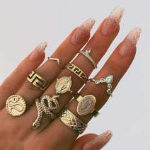 Victray Boho Gold Ring Set Joint Knuckle Carved Finger Rings Stylish Hand Accessories Jewelry for Women and Girls