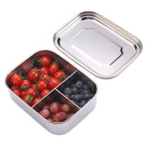 EAMATE Stainless Steel Bento Box, 800ml/27oz Small Size Lunch Box, Snack Food Container for Toddlers and Kids (3 Compartments)