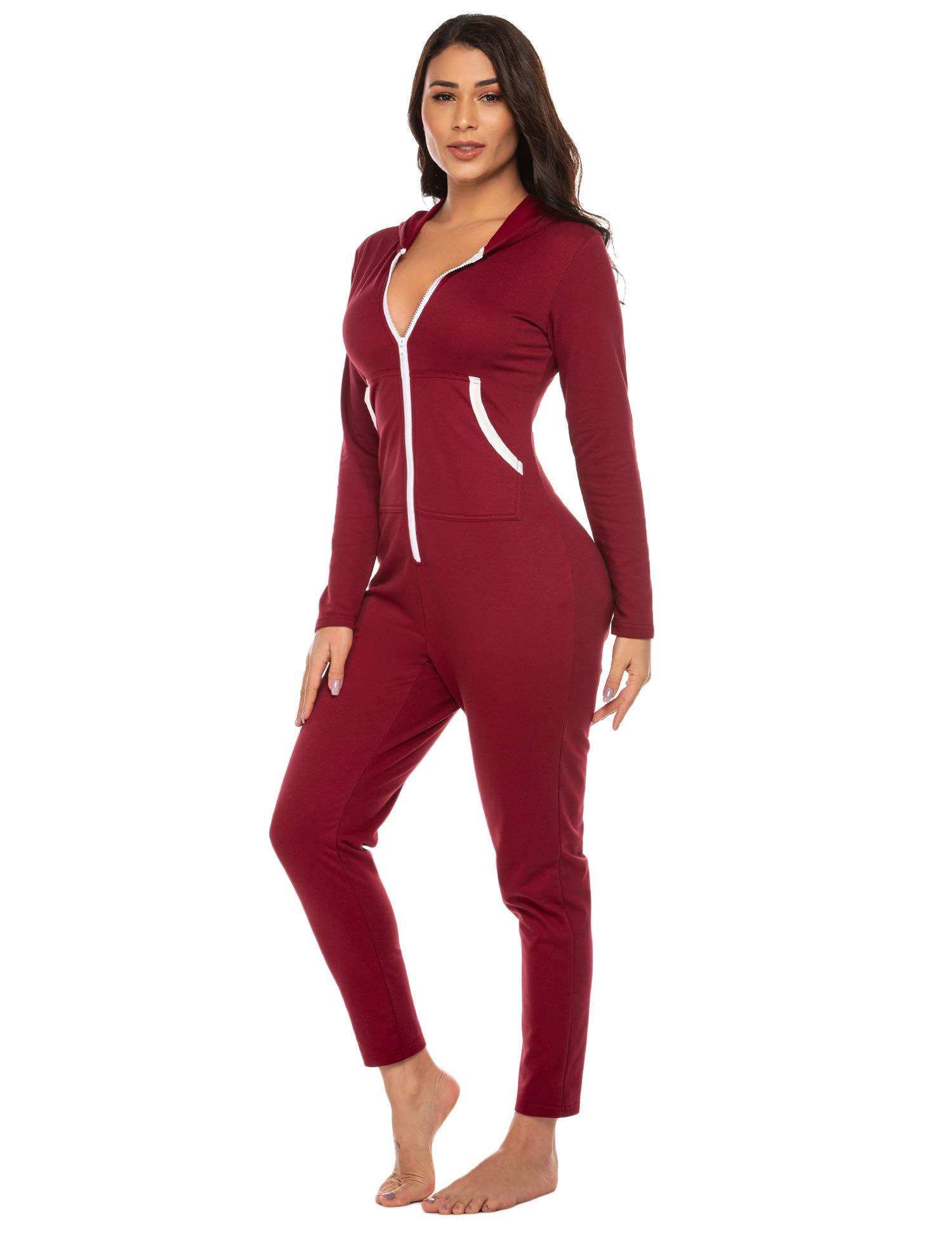 Ekouaer Onesies Underwear Set Christmas Union Jumpsuit One Piece Pajama Hooded Sweatshirt Sleepwear for Women