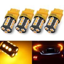 Yorkim Super Bright 3157 LED Light Bulbs Amber, 3056 3156 3156A 3057 4057 3157 4157 T25 LED Bulbs for Brake Lights, Backup Reverse Lights, Reverse Tail Lights - Pack of 4