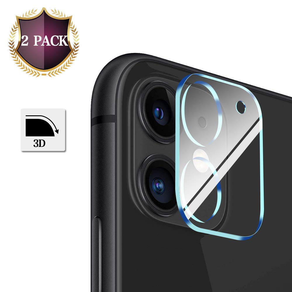 "[2 Pack] JDHDL Designed for iPhone 11 Camera Lens Protector (6.1""), HD Clear Tempered Glass 3D Oneness, Easy Install, 9H Hardness, Anti-Scratch with Replacement Warranty"