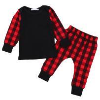 GRNSHTS Baby Girls Boys Christmas Outfit Plaid Long Sleeve Tops + Pants Sets Pajamas Set