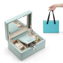 Vlando Lockable Jewelry Box, Two Tray Jewelries Collections Organizer, Girls Gift -Aqua Green