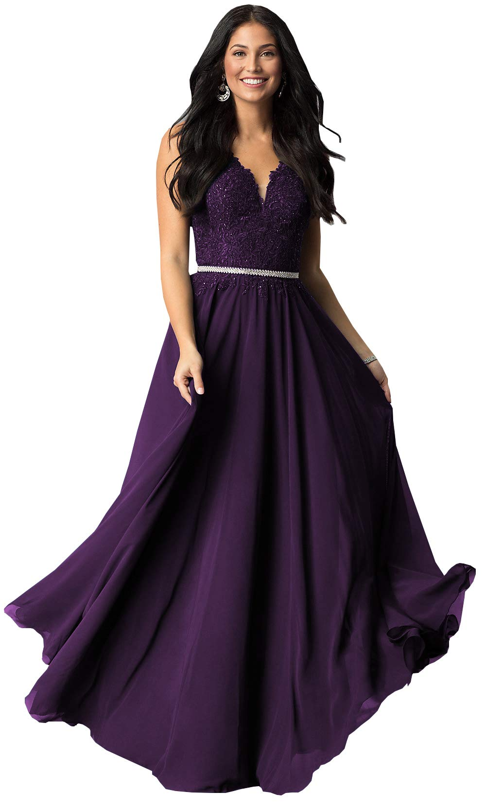 Plus Size Sleeveless Lace Chiffon Bridesmaid Dresses Long Formal Party Prom Gown (Plum,18W)