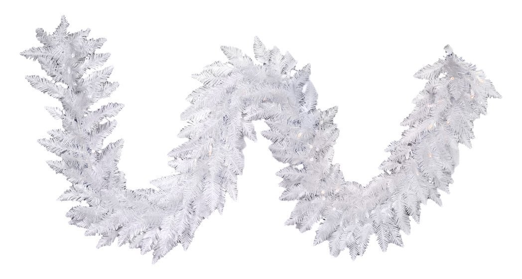 "Vickerman Sparkle Artificial Garland with 100 Multi-Colored LED Lights, 9' x 14"", White"