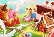 AOFOTO 6x4ft Fantasy Candy Land Landscape Background Cartoon Ice Cream Dessert Lollipop Photography Backdrop Cake House Birthday Party Decoration Banner Photo Studio Props Kid Girl Vinyl Wallpaper