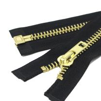 "YaHoGa #10 29 Inch Brass Separating Jacket Zipper Y-Teeth Metal Zipper Heavy Duty Metal Zippers for Jackets Sewing Coats Crafts (29"" Brass)"