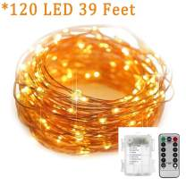 String Lights 39 Feet 120 LED Decorative Lights Battery Operated Dimmable Waterproof with Remote Control 8 Flashing Mode for Indoor Outdoor Wedding Birthday Party Bedroom Patio Garden (Warm White)