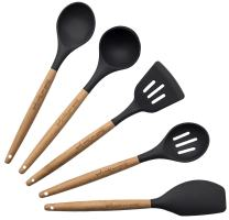 Cooking Utensils - 5-Piece Kitchen Tools Set - Dark Gray Silicone & Beech Wood Handle, Includes Slotted & Solid Spoons, Spatula, Turner & Ladle for Serving & Baking by Hearth and Home Goods