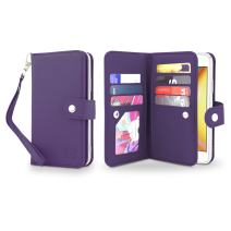 Gear Beast Flip Cover Dual Folio Case fits iPhone Xs MAX Wallet Case Slim Protective PU Leather Case 7 Slot Card Holder Including ID Holder 2 Inner Pockets Stand Feature Wristlet (Purple)