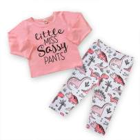 Infant Toddler Baby Girls Outfit Miss Sassy Long Sleeve Shirts Tops+ Floral Pants 2PCS Clothes Set