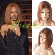 """Human Hair Bob wigs Ginger Red/Copper Orange Straight Lace Front Wig Pre Plucked Hairline with Baby Hair 10"""" Glueless 13x4 Brazilian Virgin Hair 180% Density Middle Part Full Head Bob Wig for Women"""