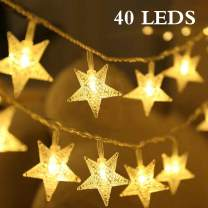 DIKI String Lights,Star String Lights 40 LED 16.4FT Waterproof Battery Operated Fairy Star Lights for Indoor & Outdoor Home Party,Wedding,Festival Garden Decoration with Warm White String Lights