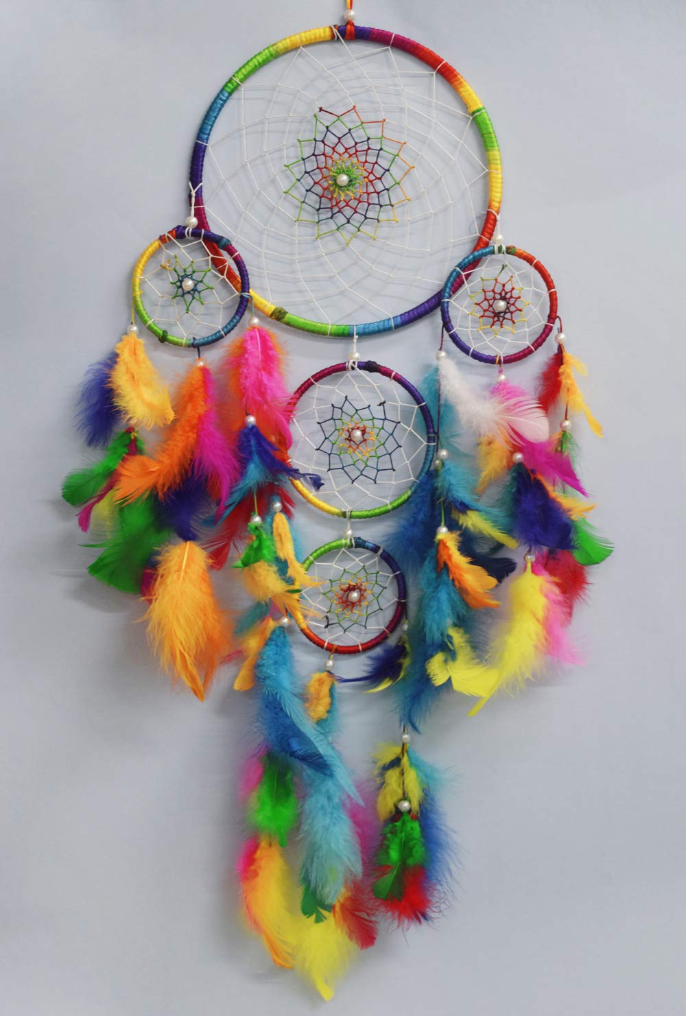 Asian Hobby Crafts Handcrafted Dream Catcher Wall Hanging with Natural Feathers – Traditional Multicolor Boho Style for Room Decor, Baby Shower, Gifting, Size – 25 x 8 inches (L x Dia)