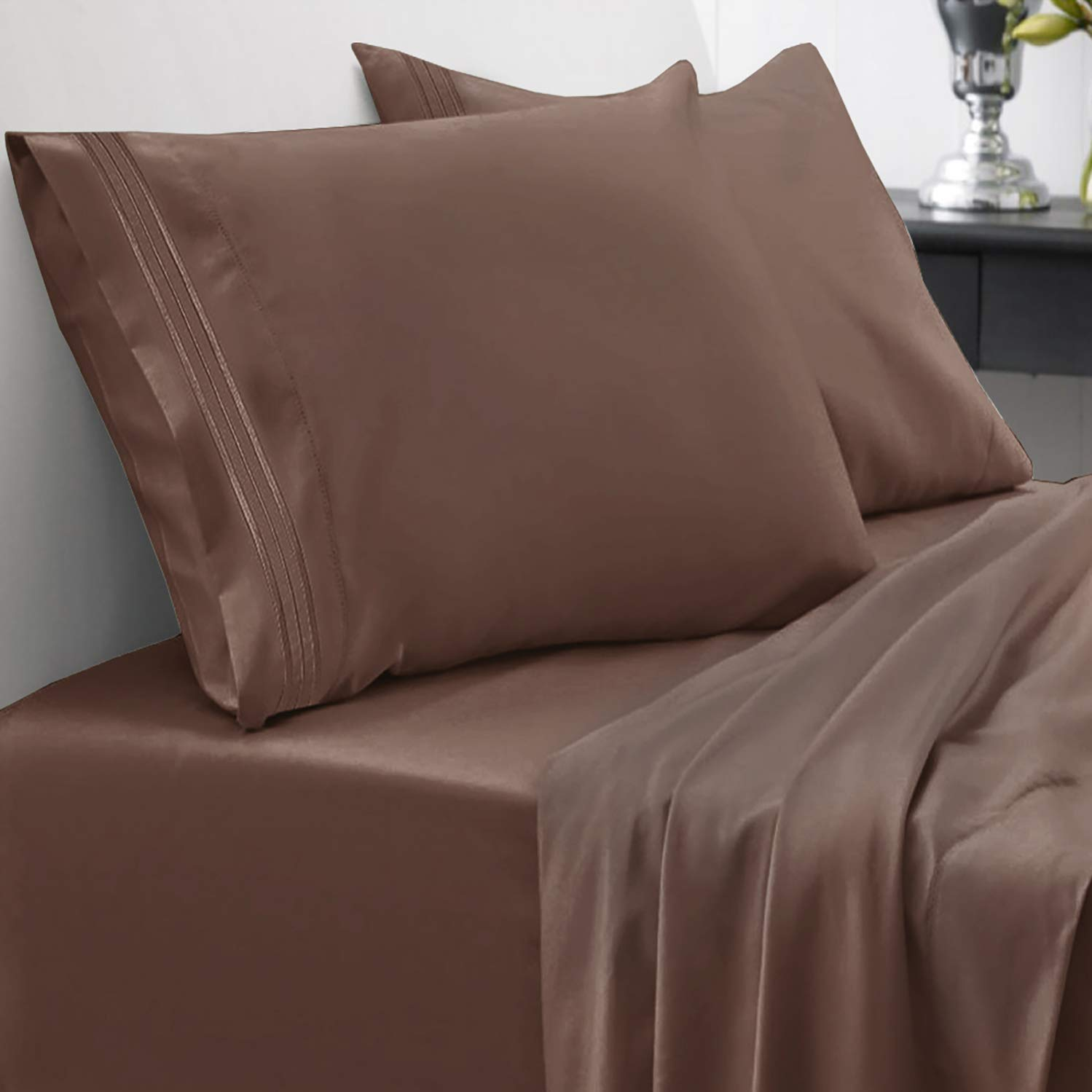 1800 Thread Count Sheet Set – Soft Egyptian Quality Brushed Microfiber Hypoallergenic Sheets – Luxury Bedding Set with Flat Sheet, Fitted Sheet, 2 Pillow Cases, Full, Brown