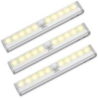 AMIR Motion Sensing Closet Lights, 3 Pack DIY Stick-on Anywhere Portable 10-LED Wireless Cabinet Night/Stairs/ Step Light Bar with Magnetic Strip, Puck Lights (Warm White, Battery Operated)