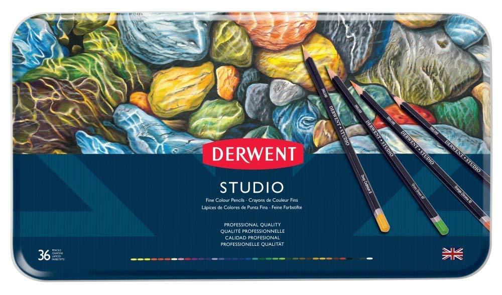Derwent Studio Colored Pencils, 3.4mm Core, Metal Tin, 36 Count (32198)