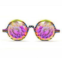 GloFX Tribal Kaleidoscope Glasses – Rainbow Fractal – Flat Back - Rave Rainbow EDM Diffraction