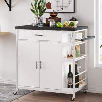 Hasuit Kitchen Island Cart with Wood Top,Home Bar Serving Cart,Rolling Utility Trolley with Drawer, Storage Cabinet, Shelves, Towel Handle and Lockable Wheels