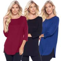 Isaac Liev 3-Pack Women's 3/4 Quarter Sleeve A-Line Loose Fit Basic Casual Tunic Tops (Small, Curved Hem with Slits Black, Burgundy & Navy)