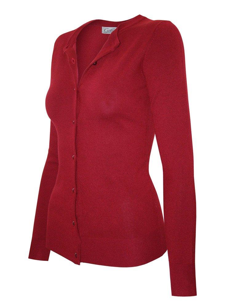 Cielo Women's Solid Basic Soft Stretch Shank Button Sweater Cardigan,Sw650 / Red,Medium