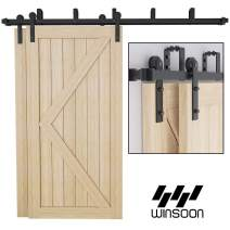 Winsoon 9FT Bypass Sliding Barn Door Hardware Kit for Double Doors, Low Profile, Overlapping Tracks, Heavy Duty, 5-16FT for Choose