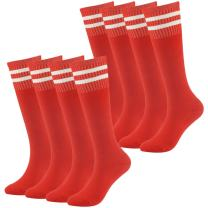 Youth Baseball Socks Fasoar Teens Long Striped Knee High Rugby Football Socks 3/8/12 Pairs