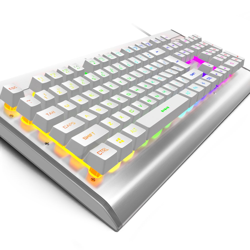 OJA Handcraft All Metal Wired Gaming Keyboard Waterproof, 104 N-Key Rollover Rainbow 7 Colors LED RGB Adjustable Backlit Breathing Light Voice Control with Multimedia Key for PC