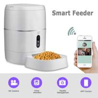 LeeKooLuu WiFi Smart Feeder 6L Automatic Cat Feeder Automatic Dog Feeder Timer Programmable 1080P HD Camera for Voice and Video Recording Enabled App for iPhone and Android