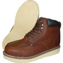 Krazy American Brown Leather 6 Inch Light Weight Industrial Construction Moc Toe Men's Work Boots