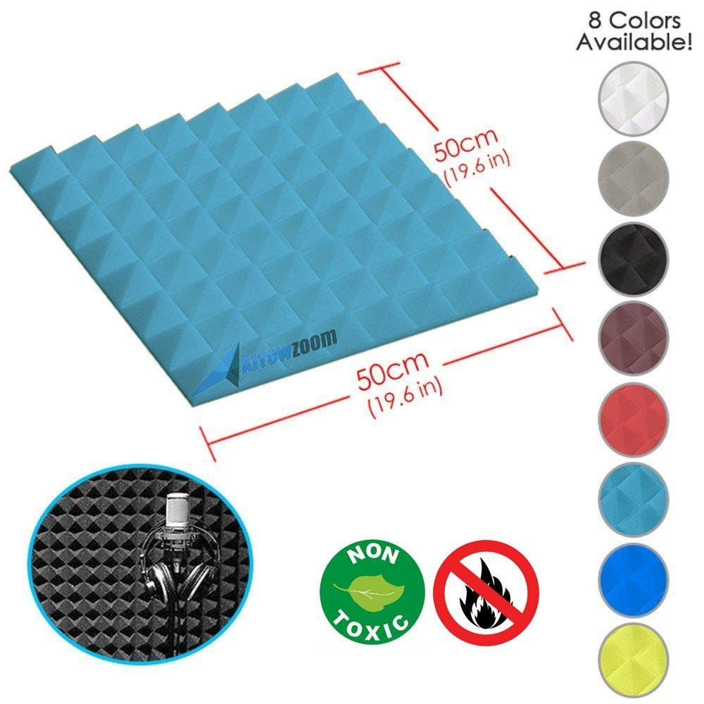 Arrowzoom New 1 Piece of (19.6 in X 19.6 in X 1.9 in) Soundproofing Insulation Pyramid Acoustic Wall Foam Padding Studio Foam Tiles AZ1034 (Baby Blue)